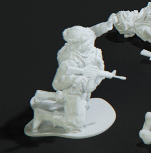 Modern Soldier getting shot pose on knees (esc: 1/24) 3D Print 158888