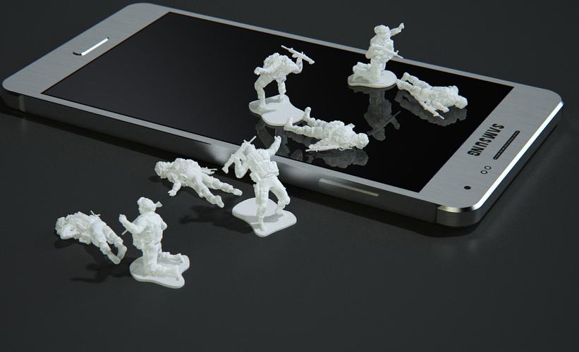 Modern Soldier lay on back (esc: 1/24) 3D Print 158892