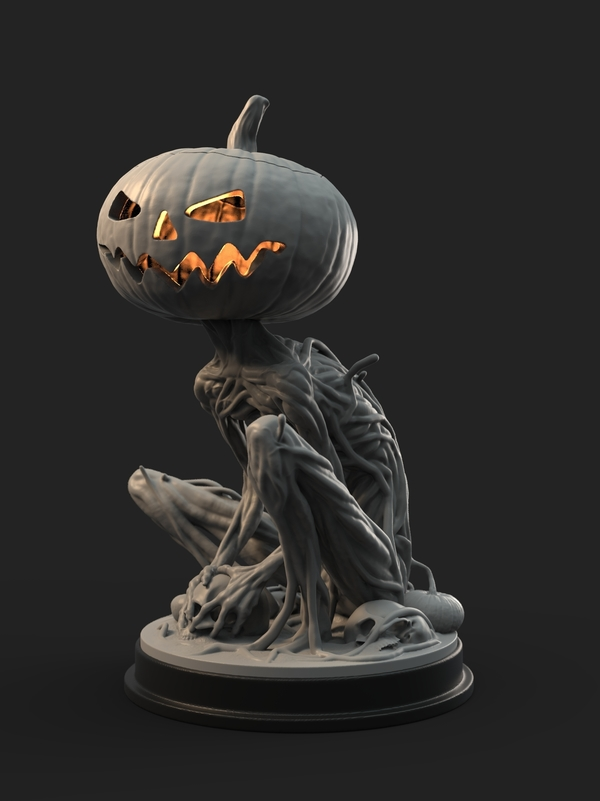 Medium Pumpkin Monster 3D Printing 161754