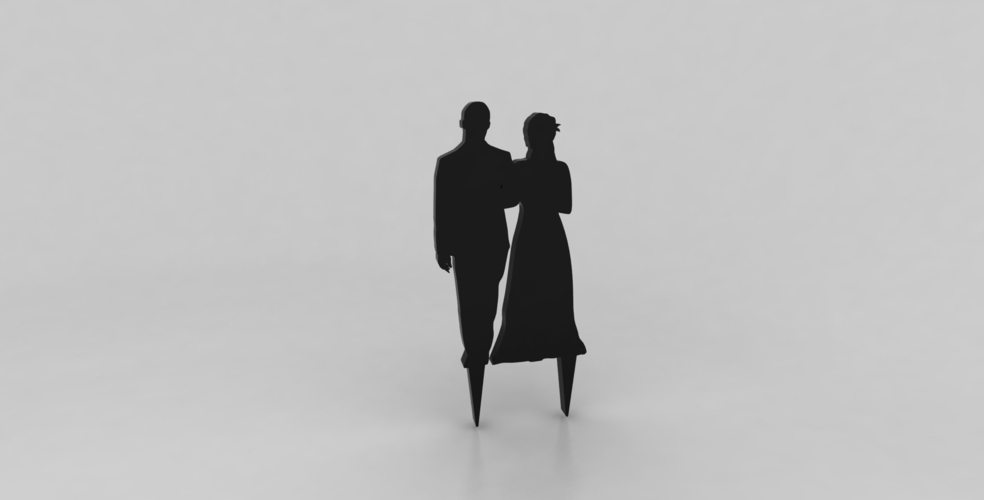 Silhouette Wedding Cake Topper 1 3D Print 162862