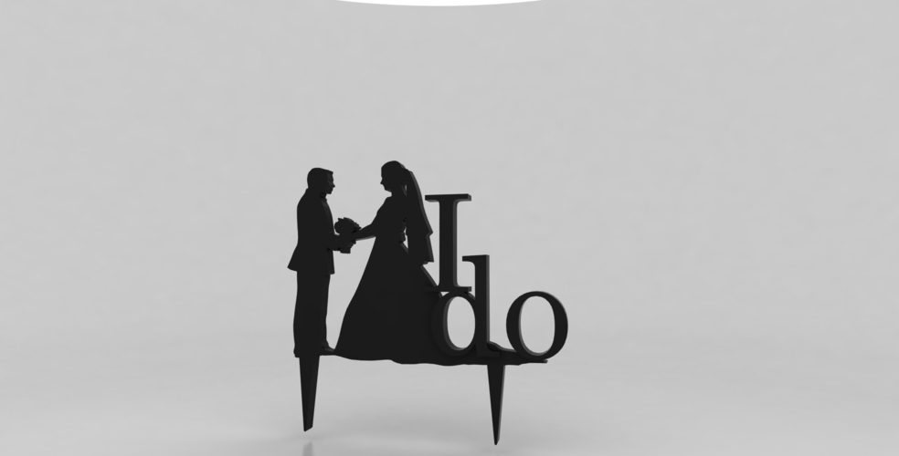 3D Printed Silhouette Wedding Cake Topper #2 by Chris Cassar ...
