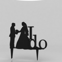 Small Silhouette Wedding Cake Topper #2 3D Printing 162863