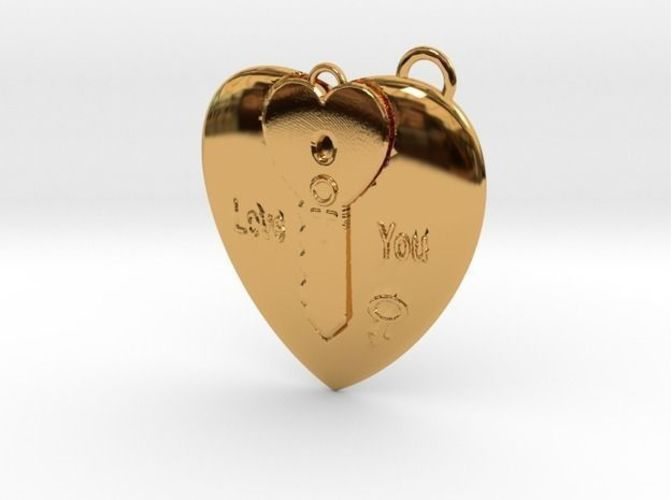 Heart and Key Pendant 3D Print 16303