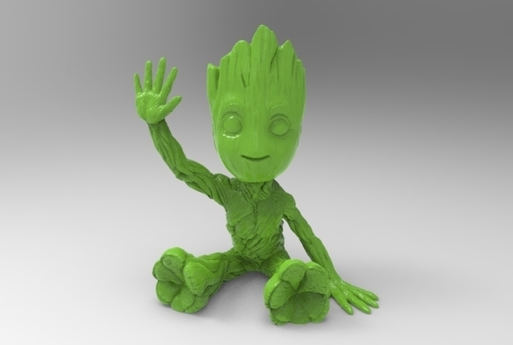baby groot sitting waving 3D Print 163055