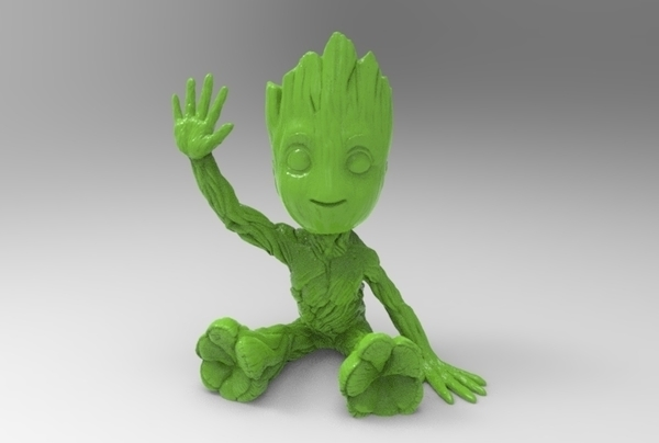 Medium baby groot sitting waving 3D Printing 163055