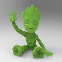 Small baby groot sitting waving 3D Printing 163055