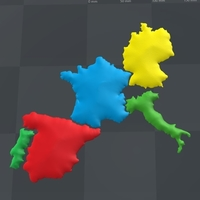 Small Mapa 3D, Paises Europa 3D Printing 163215