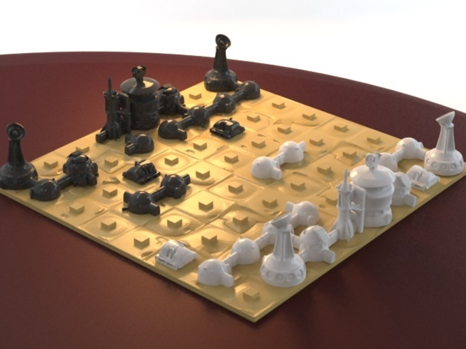 Martian-base Chess 3D Print 16431