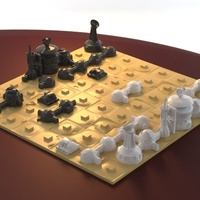 Small Martian-base Chess 3D Printing 16431