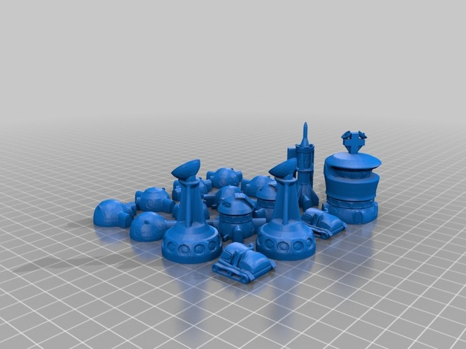 Martian-base Chess 3D Print 16434