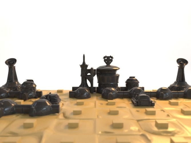 Martian-base Chess 3D Print 16437