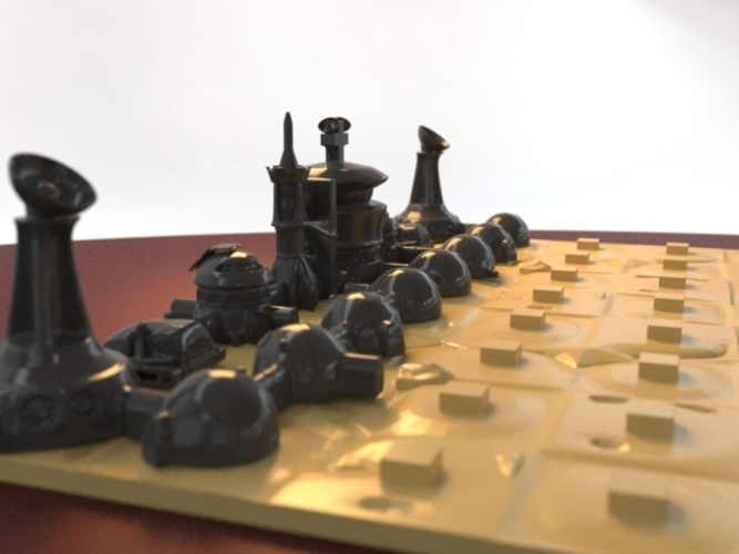Martian-base Chess 3D Print 16439