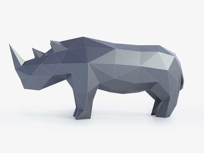 Low Poly Rhinoceros 3D Print 164406