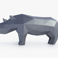 Small Low Poly Rhinoceros 3D Printing 164406
