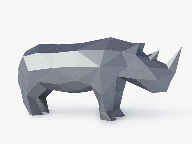 Low Poly Rhinoceros 3D Print 164409