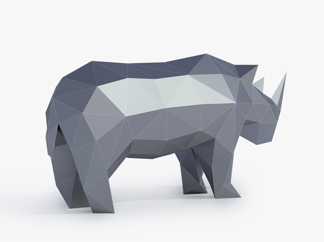 Low Poly Rhinoceros 3D Print 164411