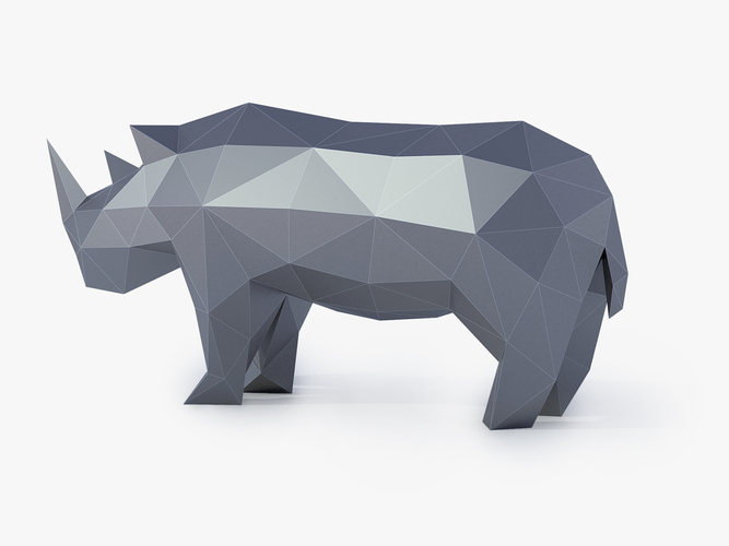Low Poly Rhinoceros 3D Print 164412