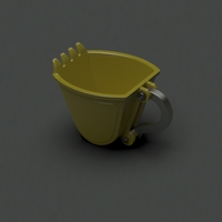 Small excavator scoop cup yellow 3D Printing 165023