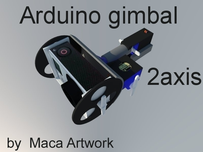 Gimbal for sjcam (gopro),2axis . powered 2servos and arduino+mpu 3D Print 166500