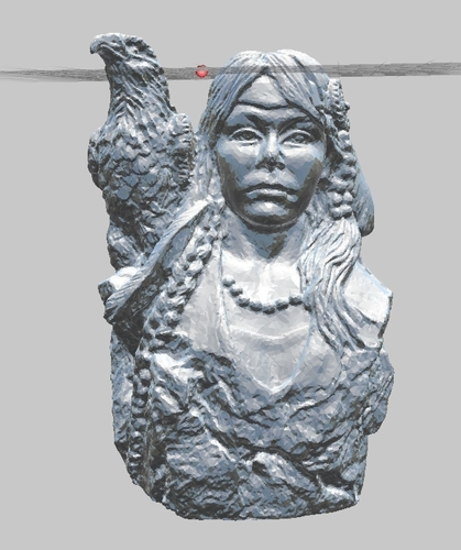 Native American (Indian) Girl with Eagle Statue 3D Print 166770