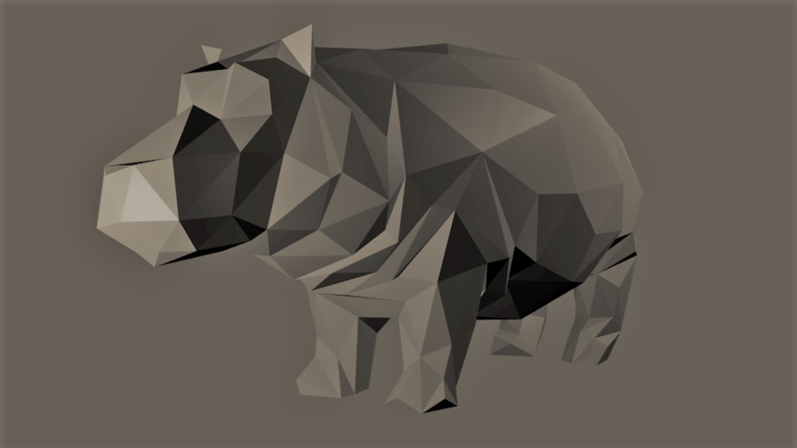 Low-Poly Hippo 3D Print 166938