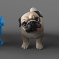 Small Question Pug 3D print model 3D Printing 167285