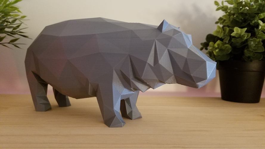 Low-Poly Hippo 3D Print 167848