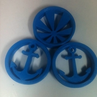 "Small Anchor & Rising Sun 1.5"" Ear Plugs  3D Printing 168443"