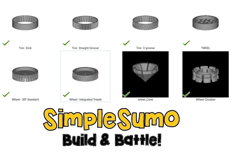 Wheels & Tires: SimpleSumo Expansions 3D Print 168575