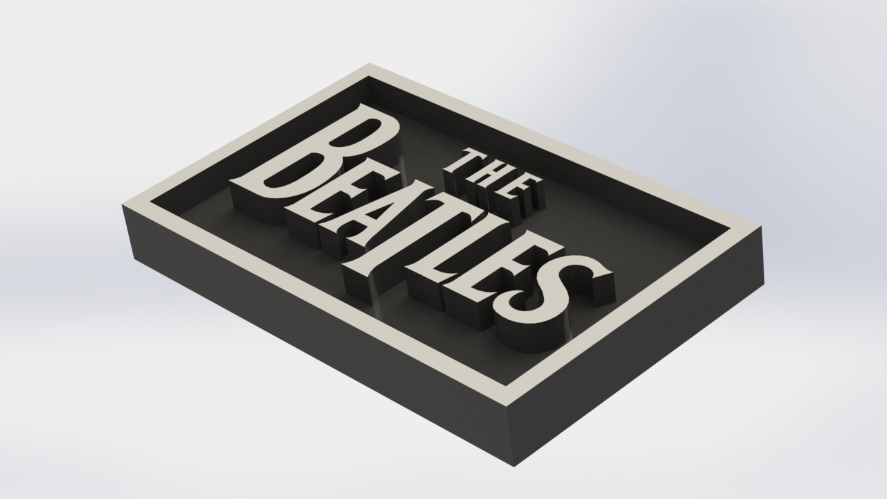 3D Printed Beatles Logo Plaque Rectangle By Taiced3D