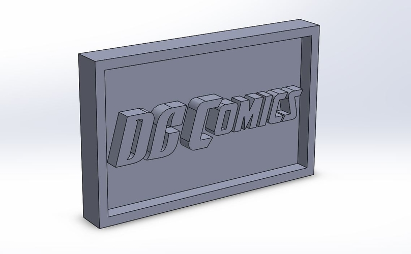 DC  Comics Logo Plaque Rectangle 3D Print 171104