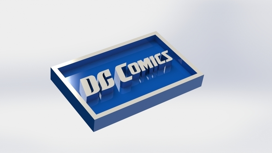 DC  Comics Logo Plaque Rectangle 3D Print 171105
