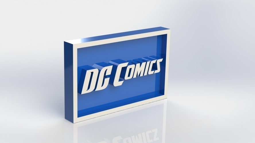 DC  Comics Logo Plaque Rectangle 3D Print 171106