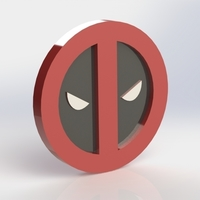 Small Deadpool Logo Plaque Circle 3D Printing 171109