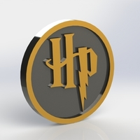 Small Harry Potter HP Logo Plaque Circle 3D Printing 171119