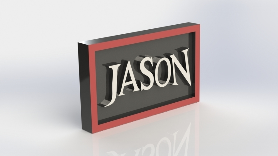 Jason Logo Plaque Rectangle 3D Print 171121