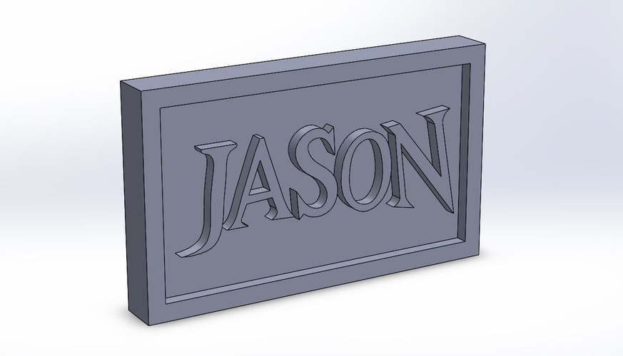 Jason Logo Plaque Rectangle 3D Print 171122