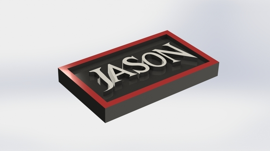 Jason Logo Plaque Rectangle 3D Print 171123