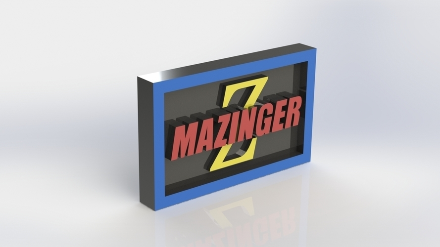 Mazinger Logo Plaque Rectangle 3D Print 171130