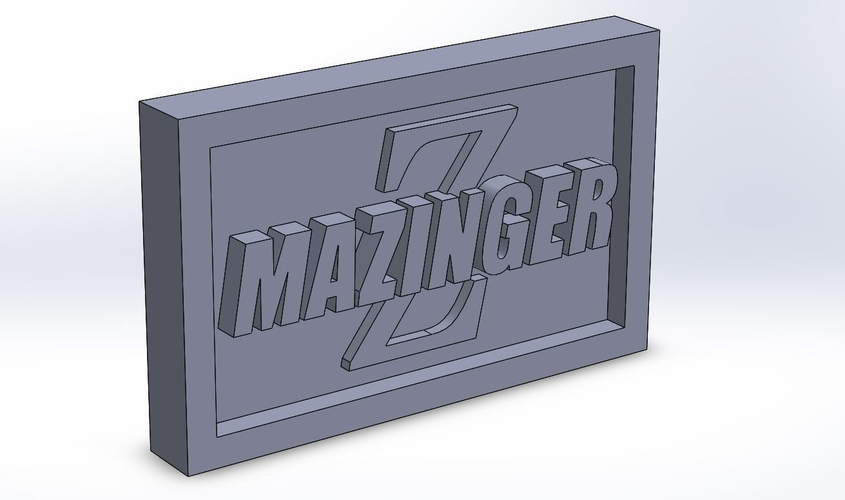 Mazinger Logo Plaque Rectangle 3D Print 171131