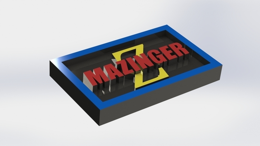 Mazinger Logo Plaque Rectangle 3D Print 171132
