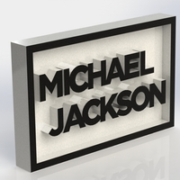 Small Michael Jackson Logo Plaque Rectangle 3D Printing 171136