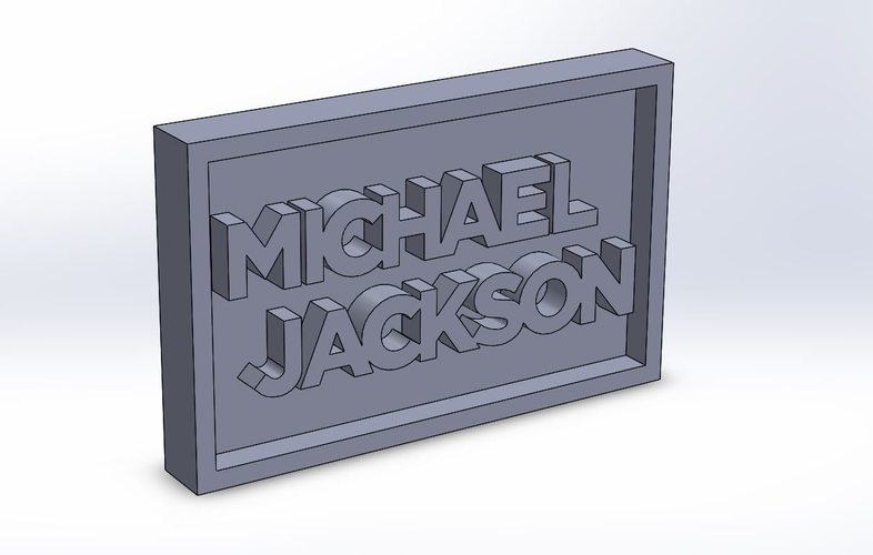 Michael Jackson Logo Plaque Rectangle 3D Print 171137