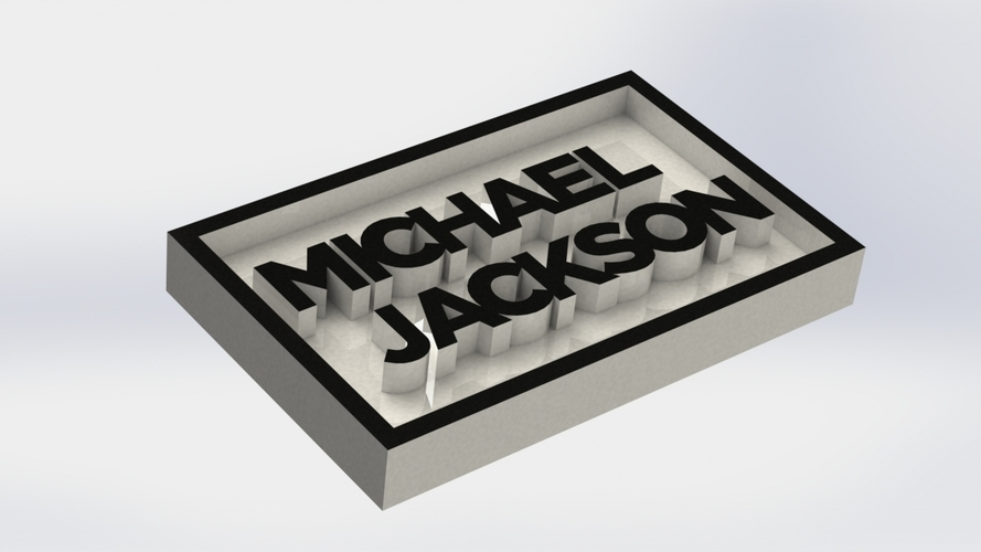 Michael Jackson Logo Plaque Rectangle 3D Print 171138
