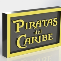 Small Piratas del Caribe Logo Plaque Rectangle 3D Printing 171142