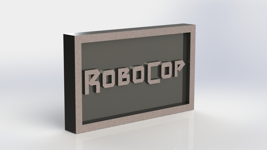 Robocop Logo Plaque Rectangle 3D Print 171148