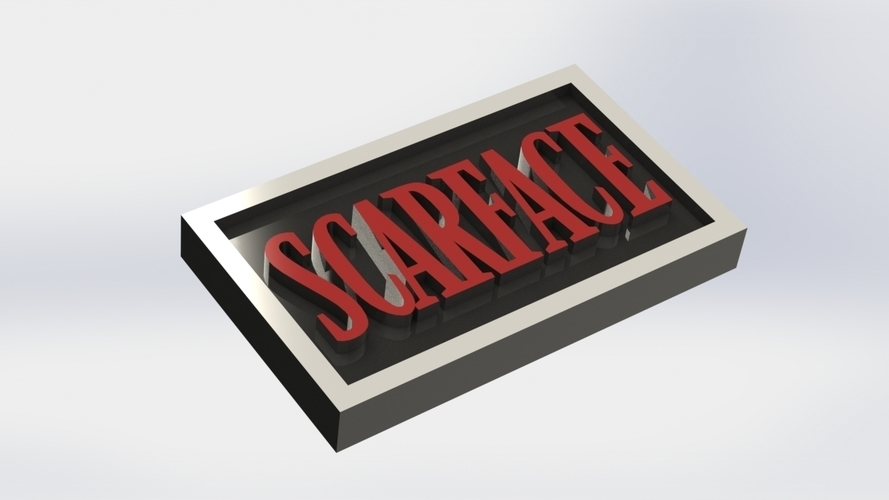 Scarface Logo Plaque Rectangle 3D Print 171342