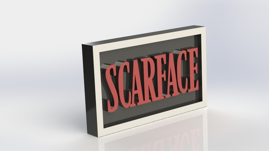 Scarface Logo Plaque Rectangle 3D Print 171343