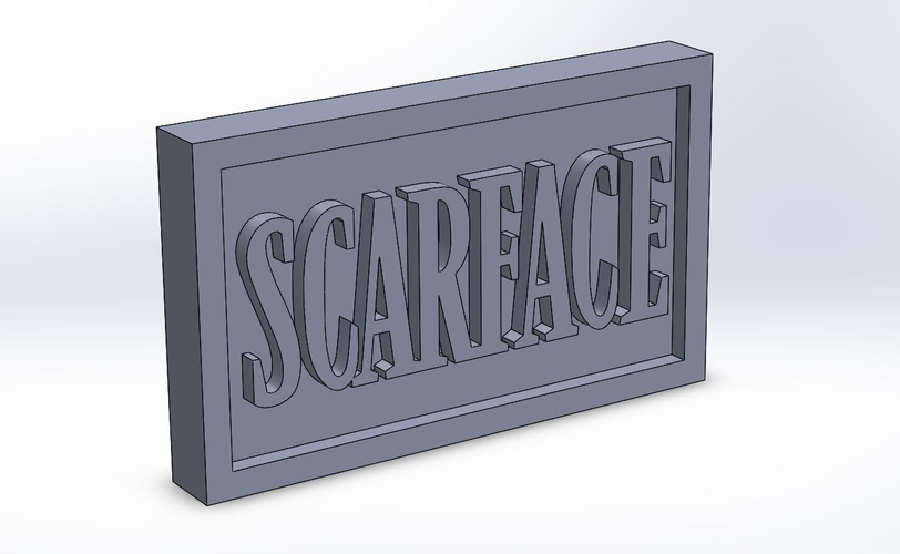 Scarface Logo Plaque Rectangle 3D Print 171344