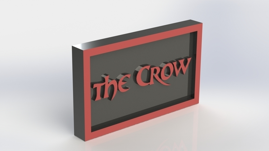 The Crow Logo Plaque Rectangle 3D Print 171353